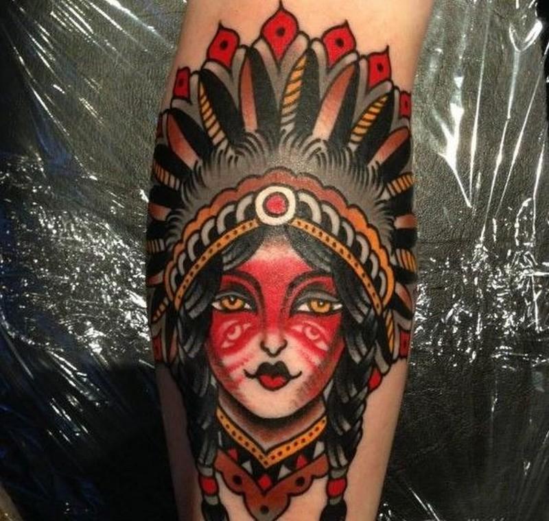 Old school native american girl tattoo by luke jinks for Tattoo girl book