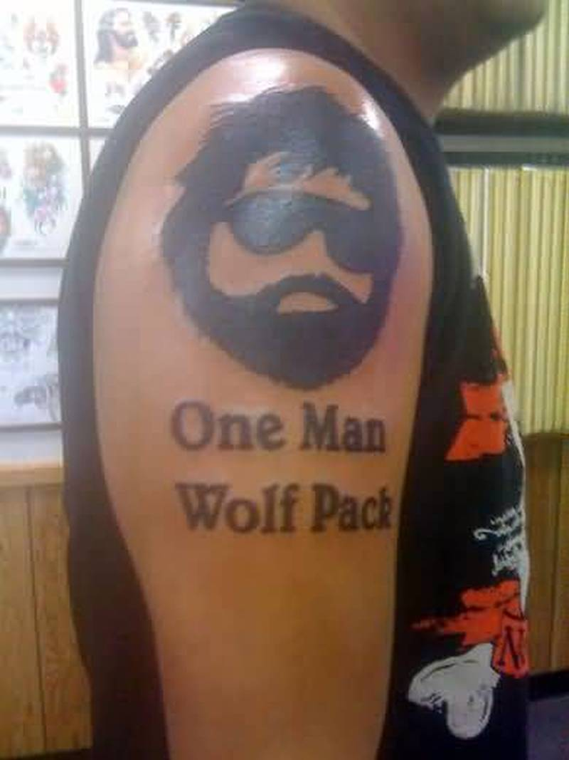 One man wolf pack funny tattoo design