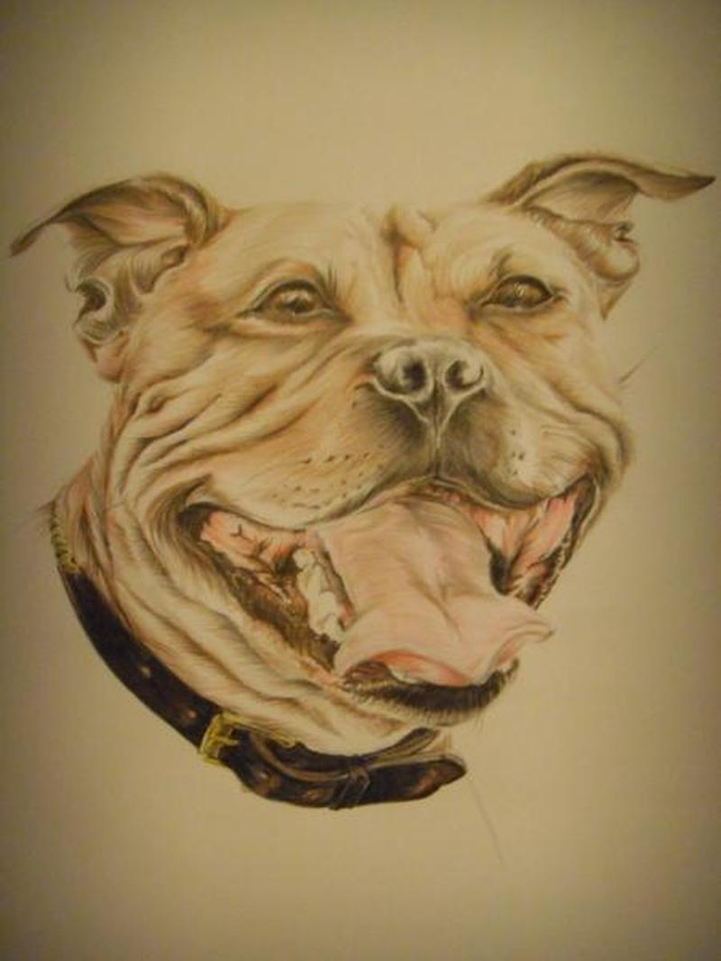Open mouth dog tattoo sample