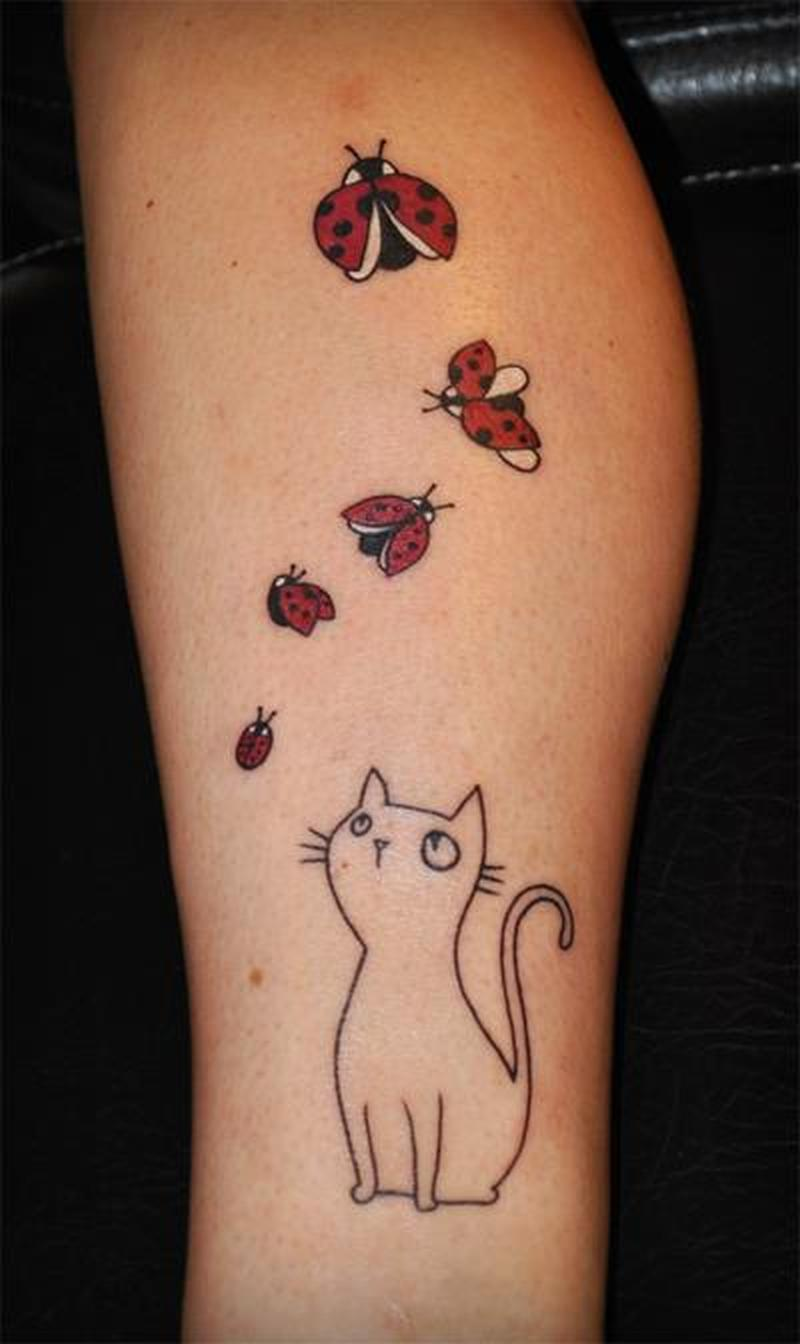 Outline cat seeing bugs tattoo design