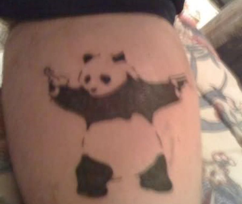 Panda with gun tattoo design