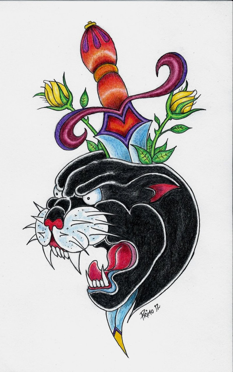 Panther n dagger tattoo design