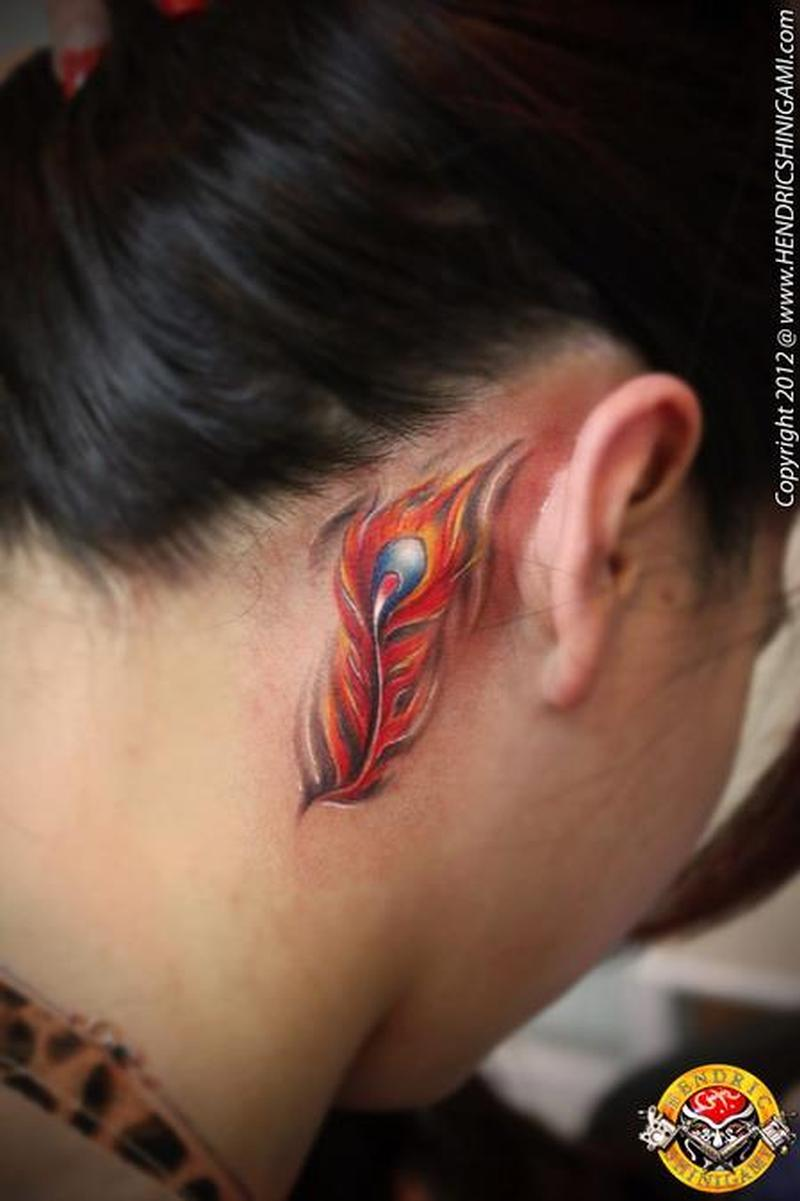 Phoenix feather tattoo design behind ear