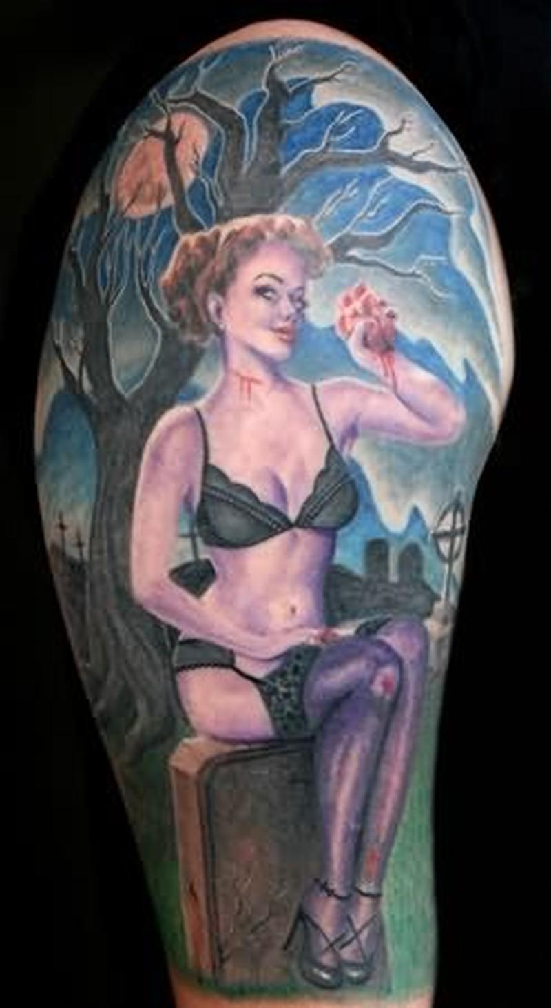 Pin up girl in graveyard design tattoo