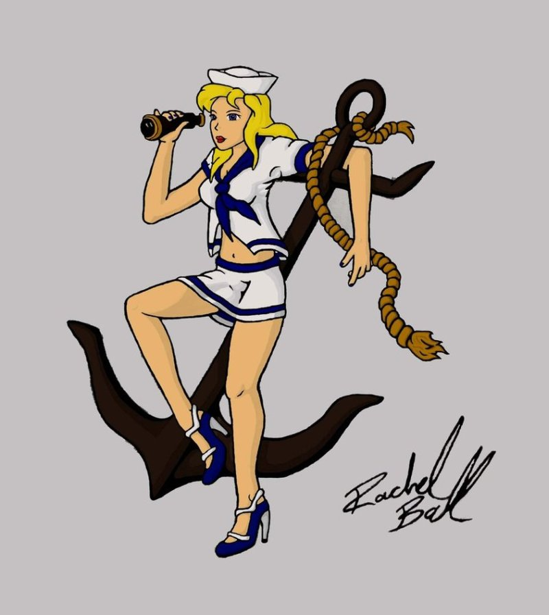 Pin up sailor girl tattoo design