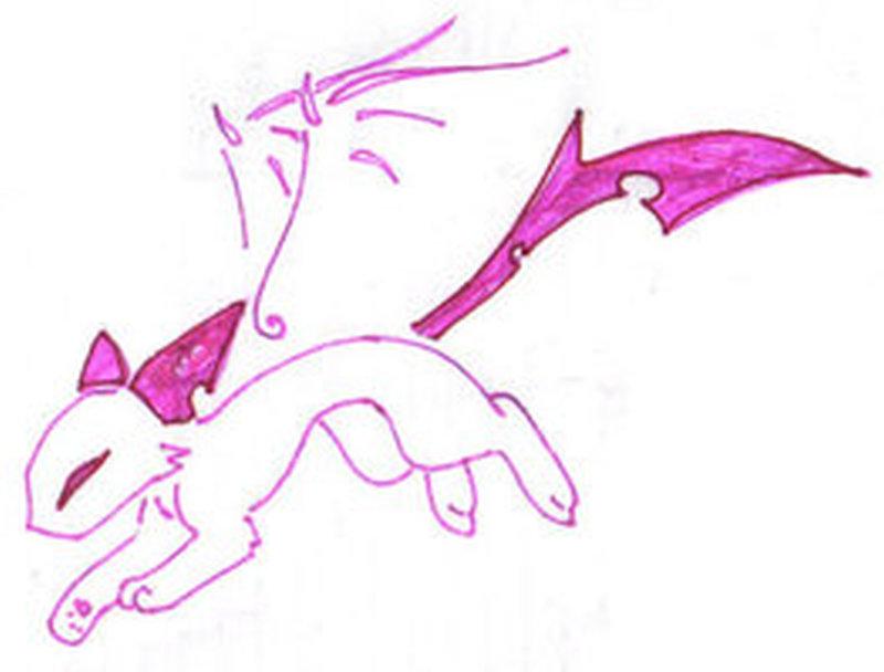 Pink cat tattoo design