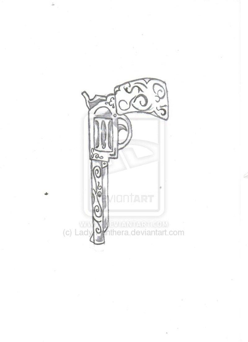 Pistol gun tattoo drawing
