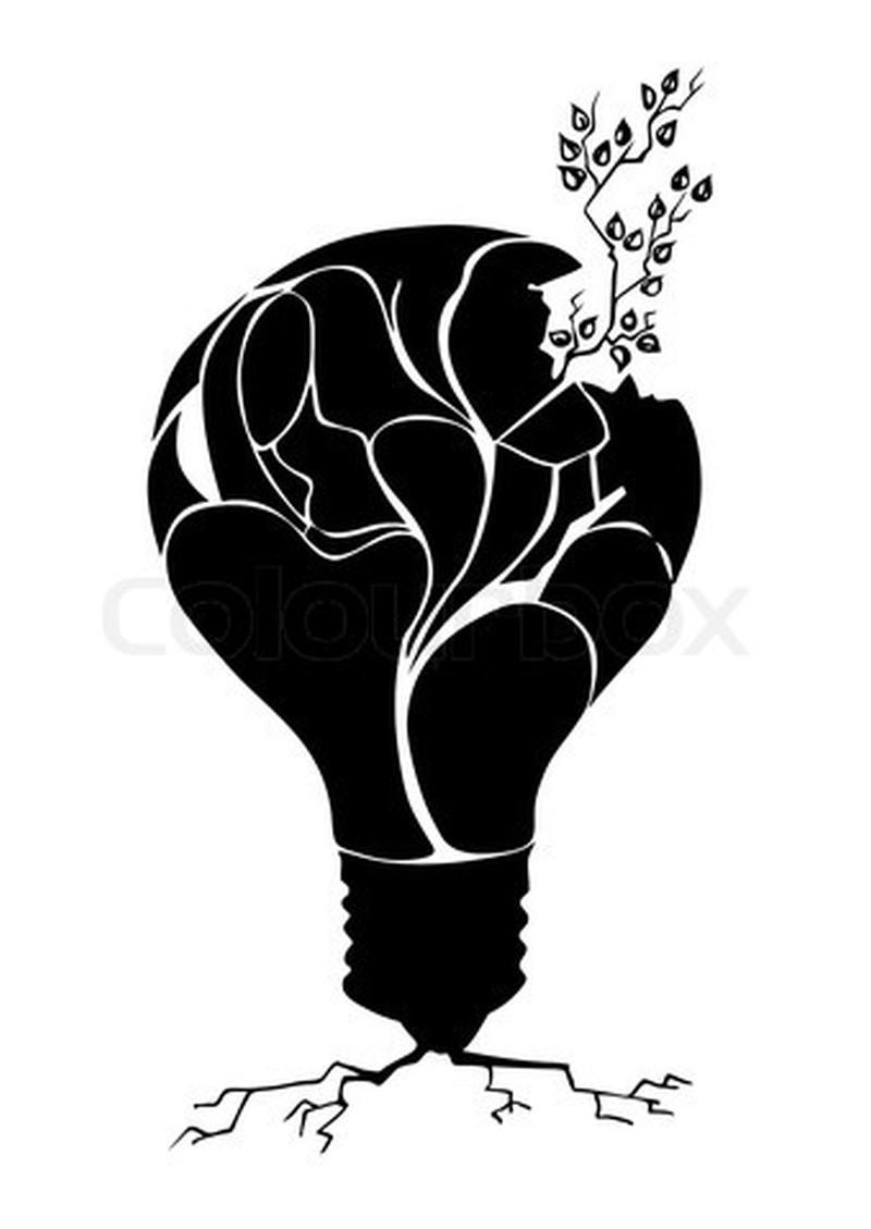 Plant in light bulb tattoo design