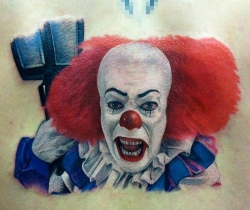 Portpait portrait of scary clown tattoo