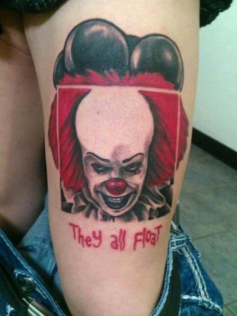 Portrait of evil clown tattoo