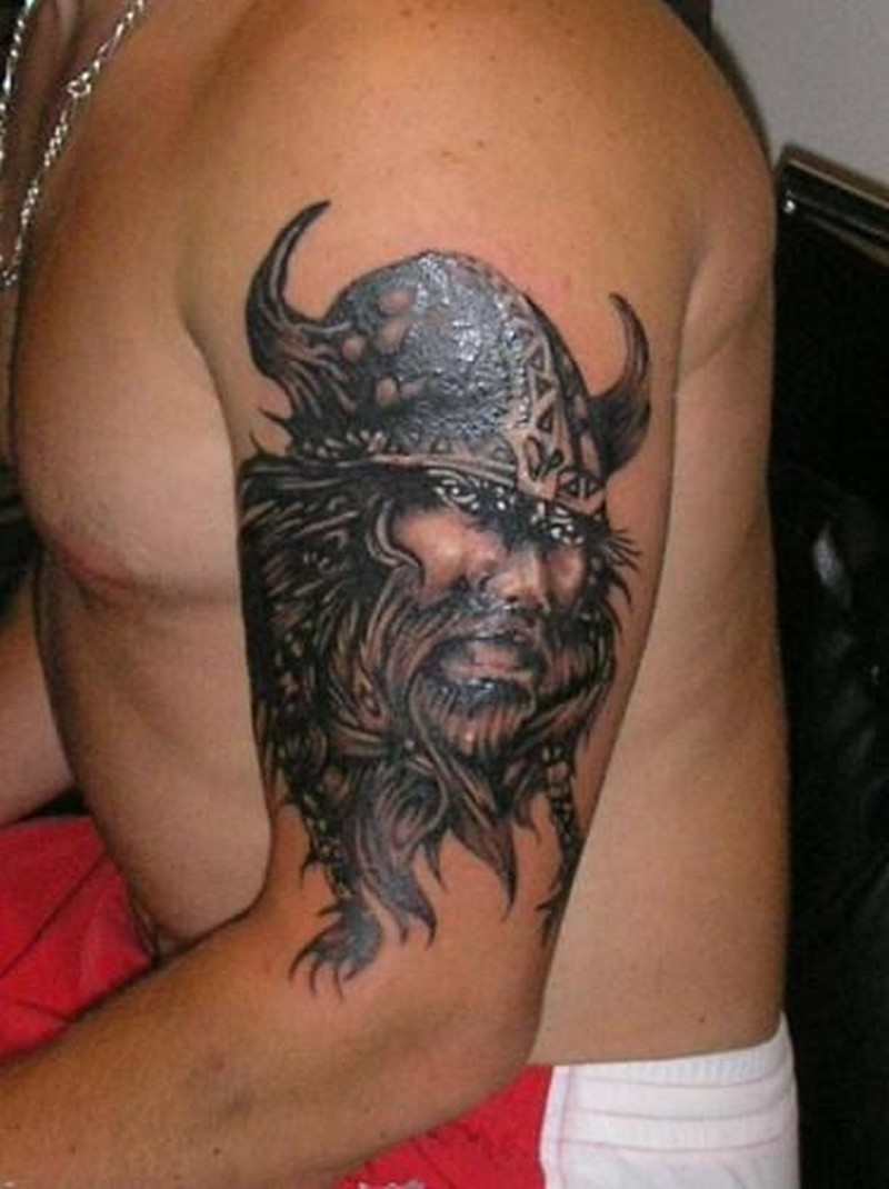 Portrait Viking Tattoo On Half Sleeve Tattoos Book 65 000