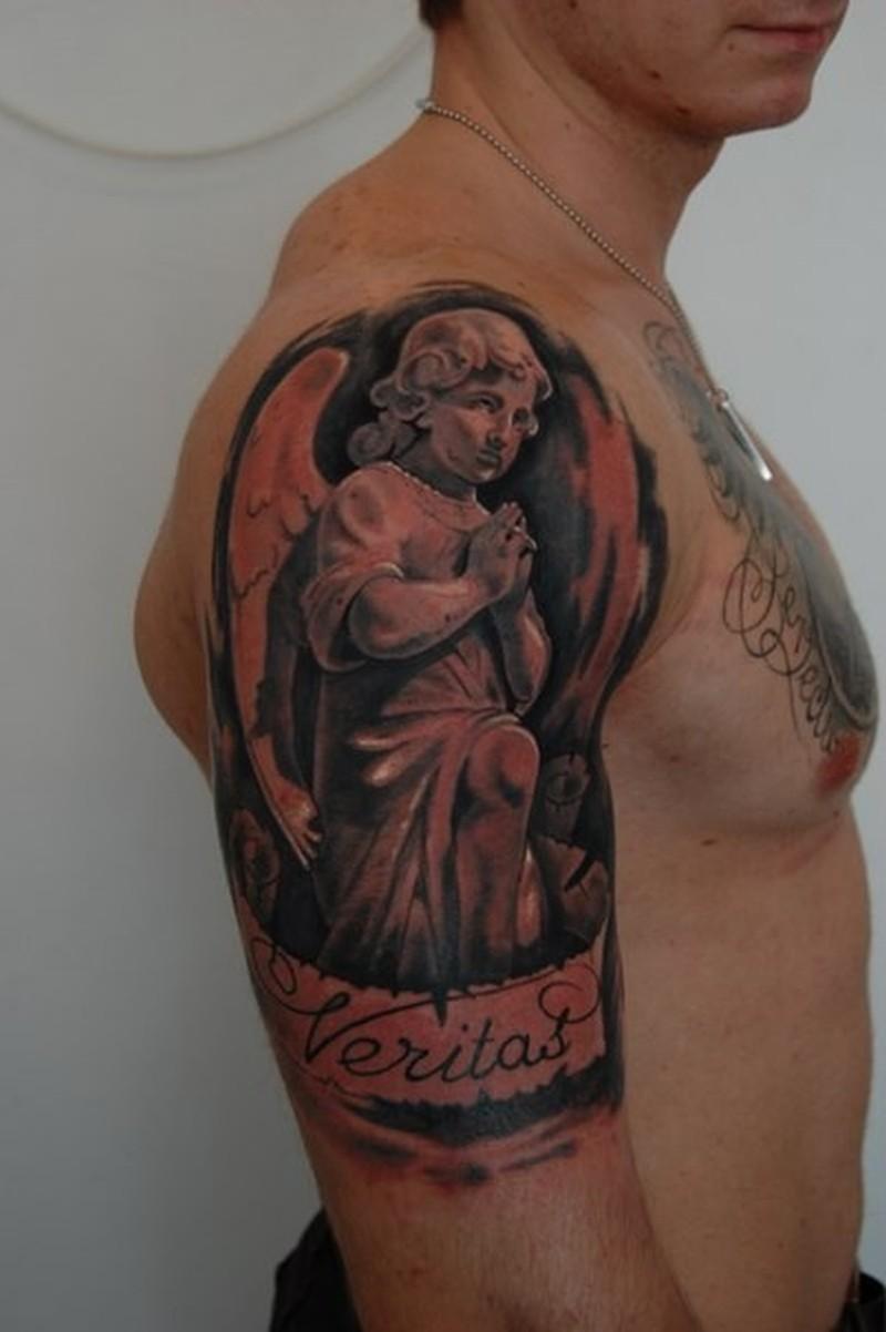 Praying Sad Angel Tattoo On Half Sleeve Tattoos Book