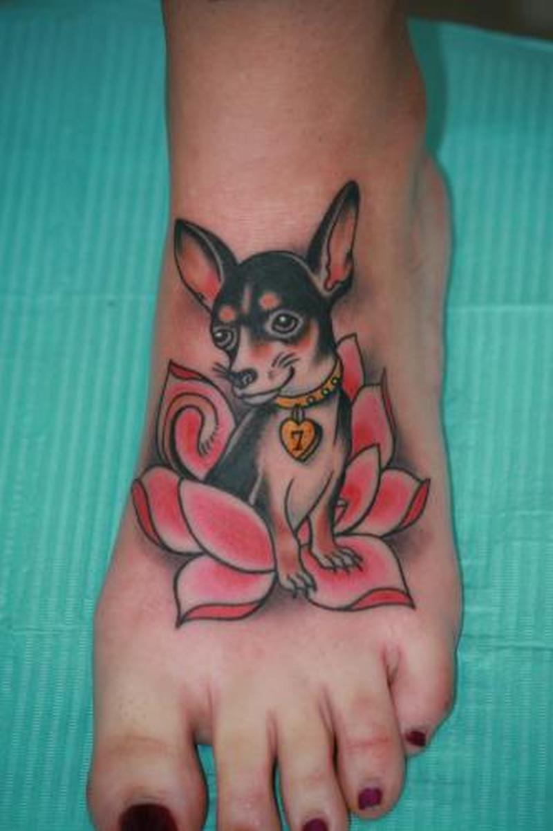 Puppy dog tattoo on foot