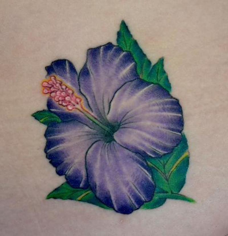 Purple hibiscus flower tattoo design 2