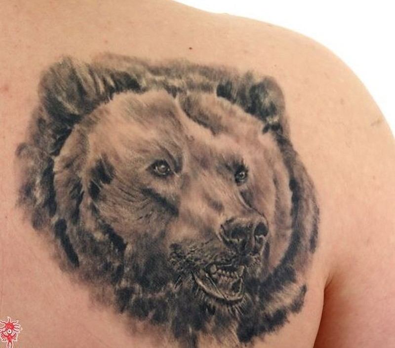 realistic bear head tattoo on shoulder blade tattoos book. Black Bedroom Furniture Sets. Home Design Ideas