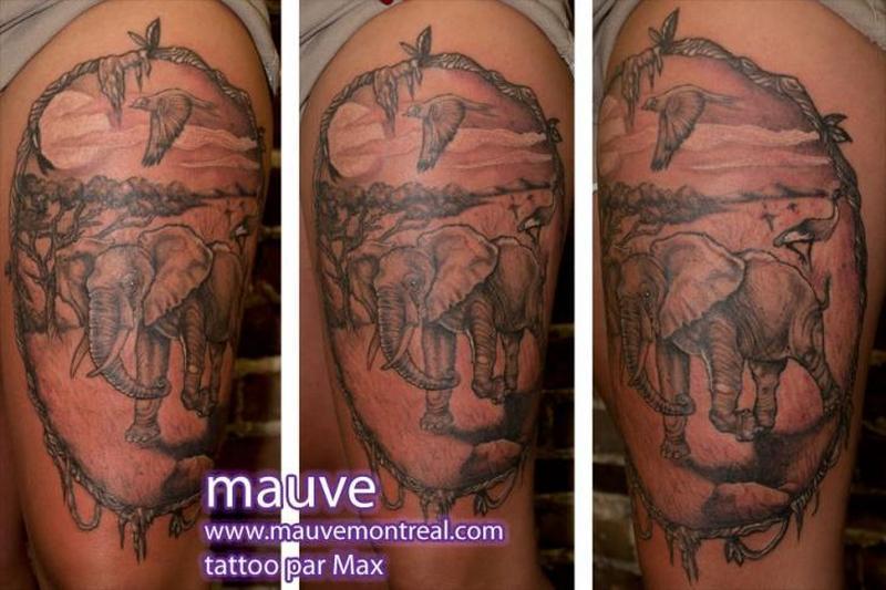 Realistic elephant tattoo design