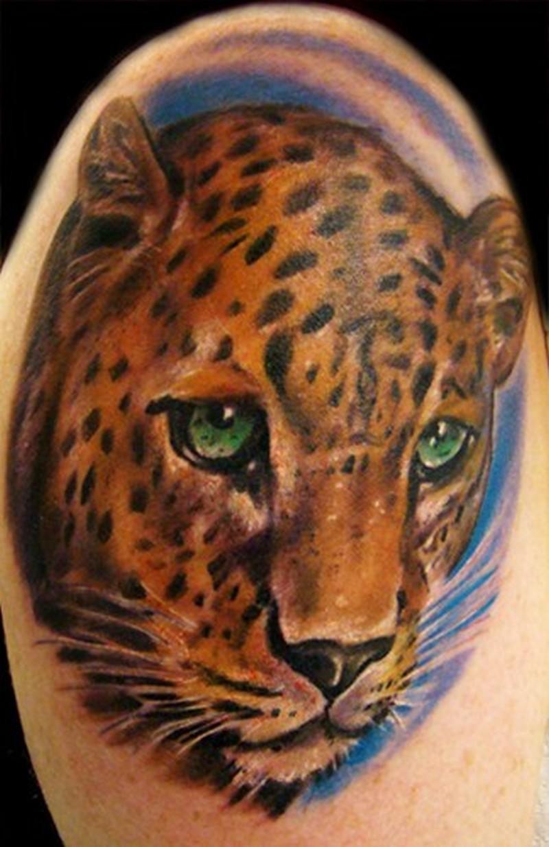 Realistic leopard head tattoo on half sleeve