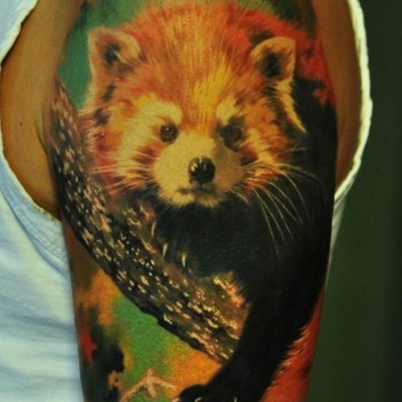 Realistic red panda tattoo on half sleeve