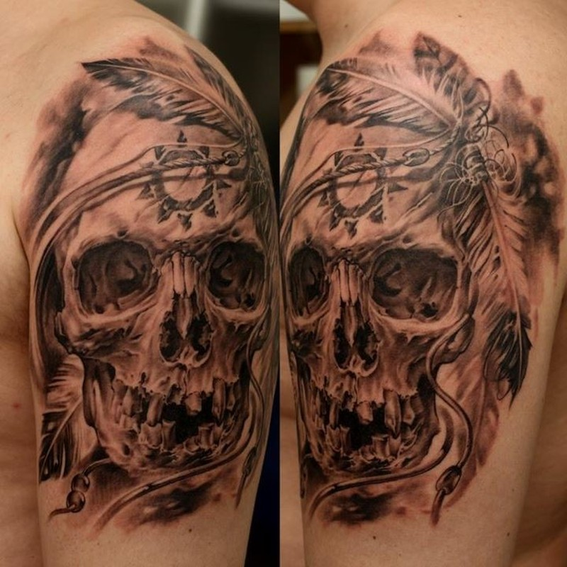 Realistic Skull With Native American Symbols Tattoo On Shoulder Tattoos Book 65 000 Tattoos