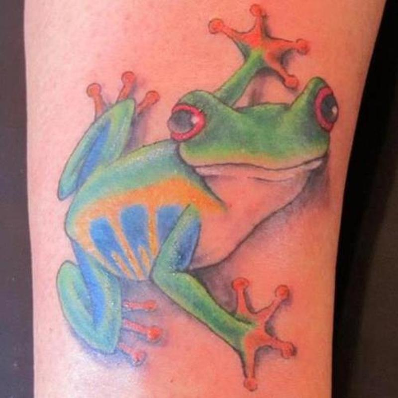 Red eyed tree frog tattoo design 2