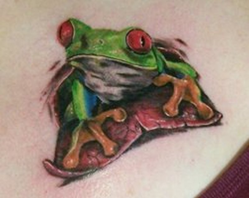 Red eyed tree frog tattoo design 3