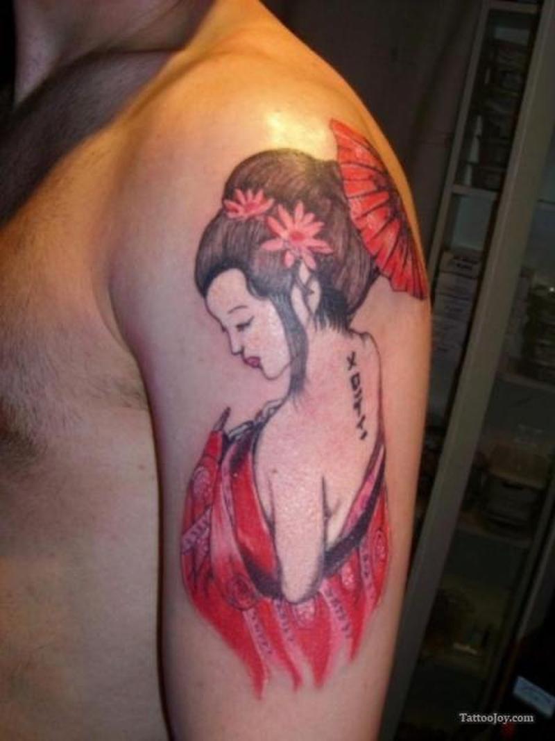 Red geisha tattoo on left arm