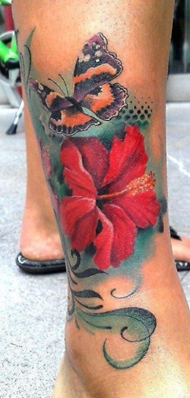 Red Hibiscus Flower With Butterfly Tattoo On Leg Tattoos Book