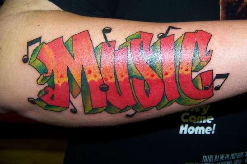 Red ink music graffiti tattoo design
