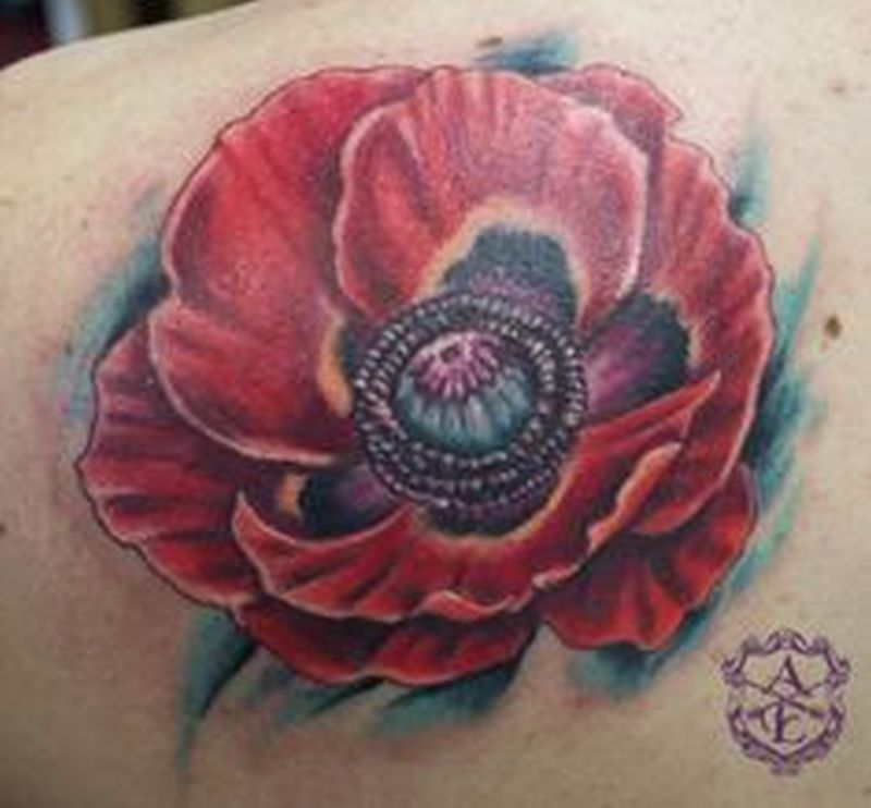 Red poppy flower tattoo design