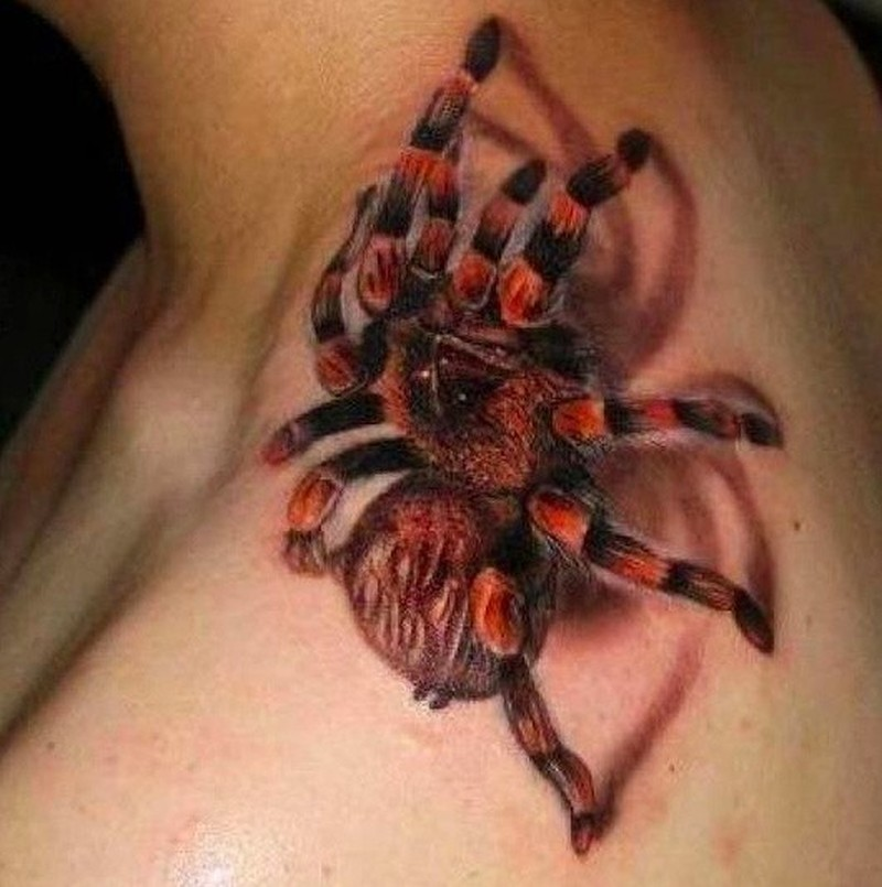 Red tarantula spider tattoo on neck