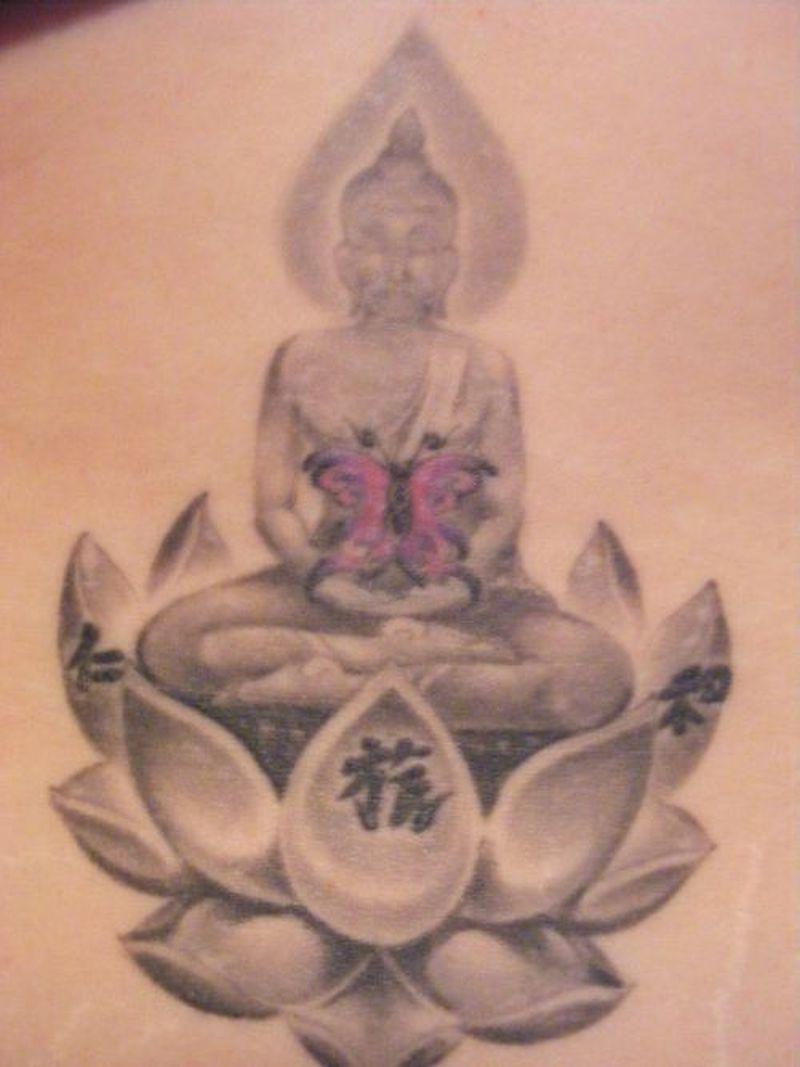 Religious buddha butterfly lotus tattoo design