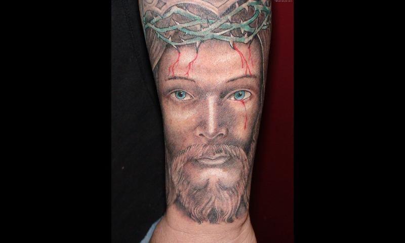 Religious jesus portrait tattoo design