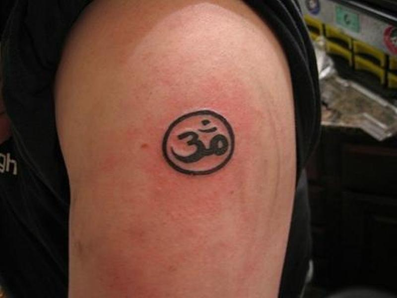 Religious om in circle tattoo design