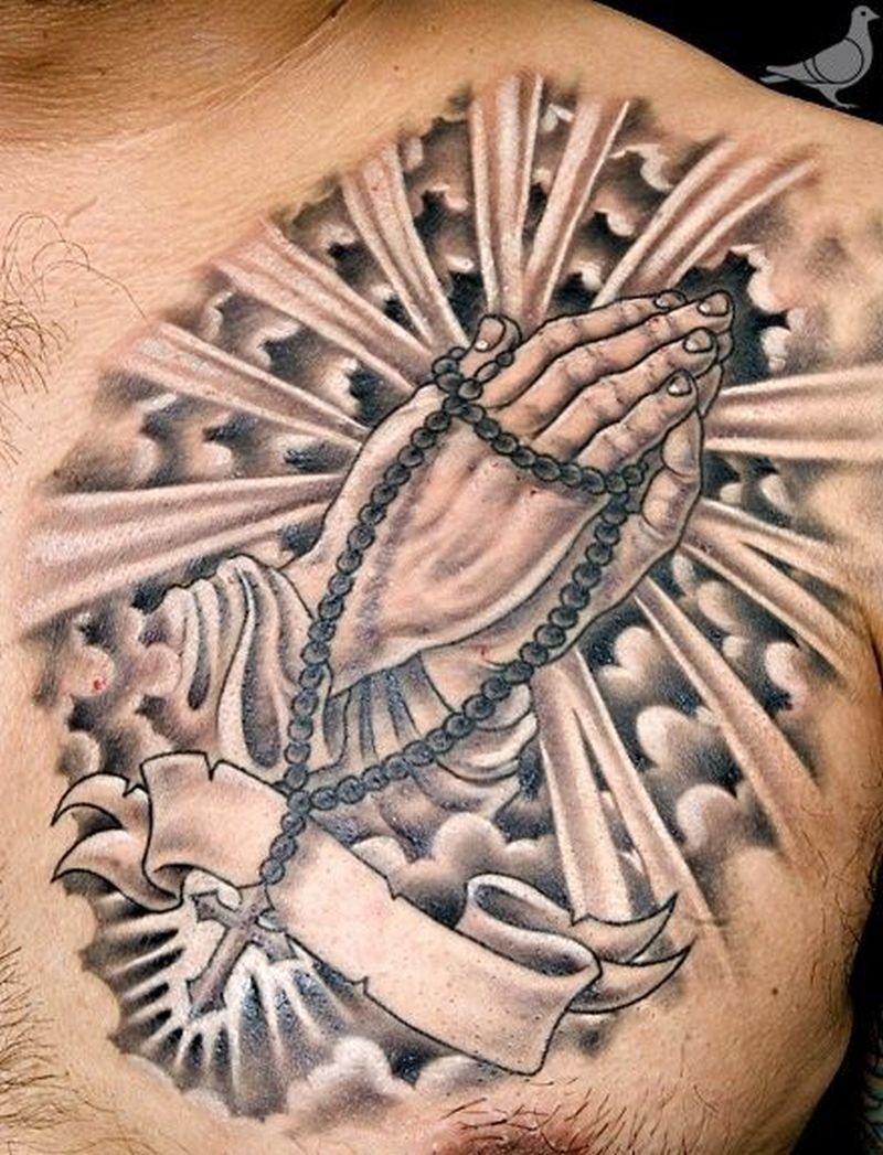 Religious tattoo on chest