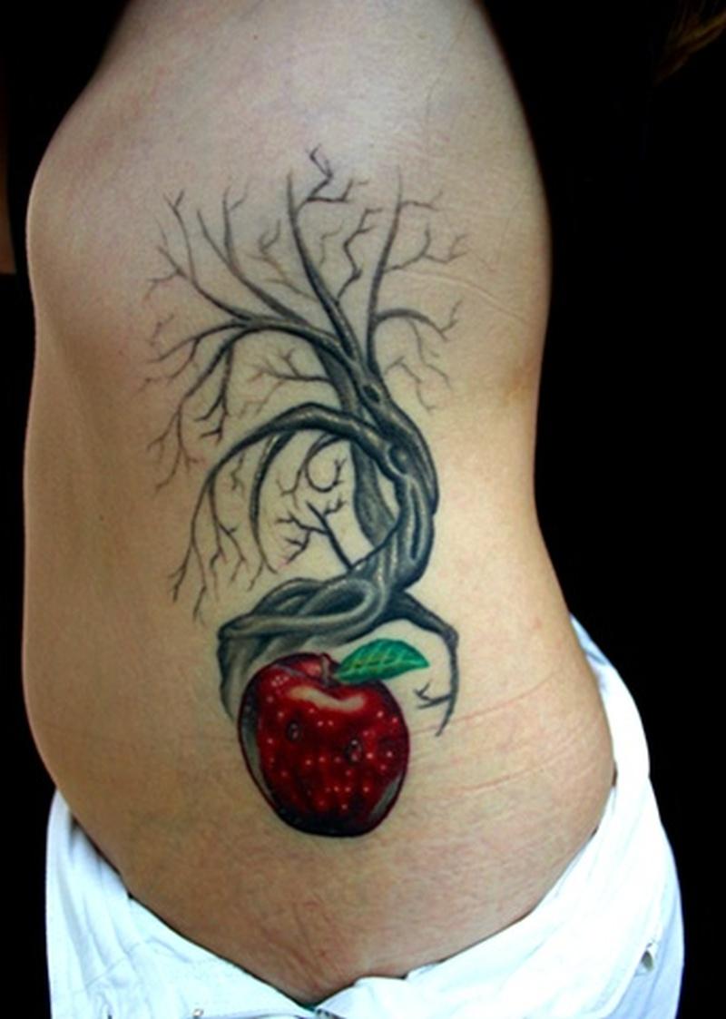 rib side apple tree tattoo tattoos book tattoos