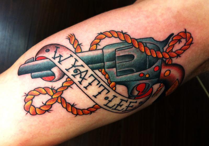 Rope n gun tattoo design