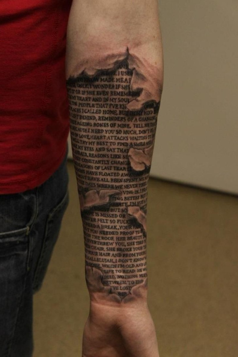 Sacred texts under skin rip forearm tattoo tattoos book for Under my skin tattoo