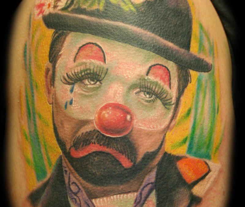 Sad clown tattoo design 2