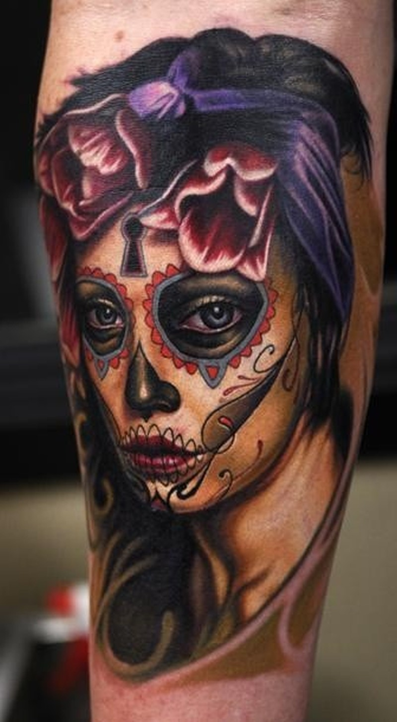 Sad santa muerte girl with dark tulips tattoo tattoos book for Tattoo girl book