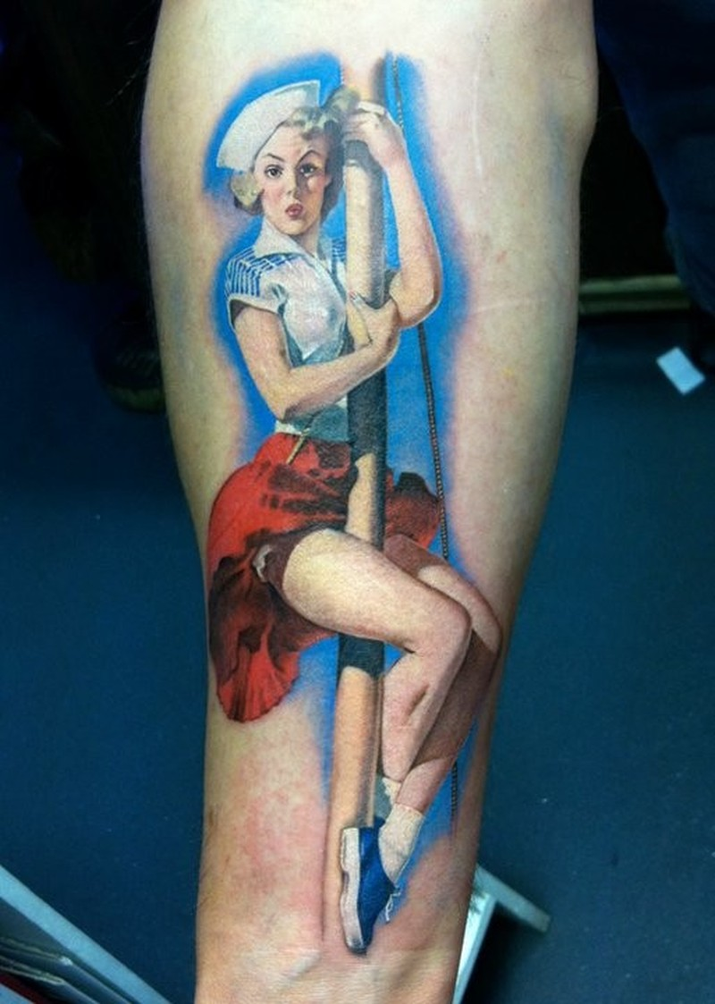 Sailor climbs on a mast pin up girl tattoo by David Corden