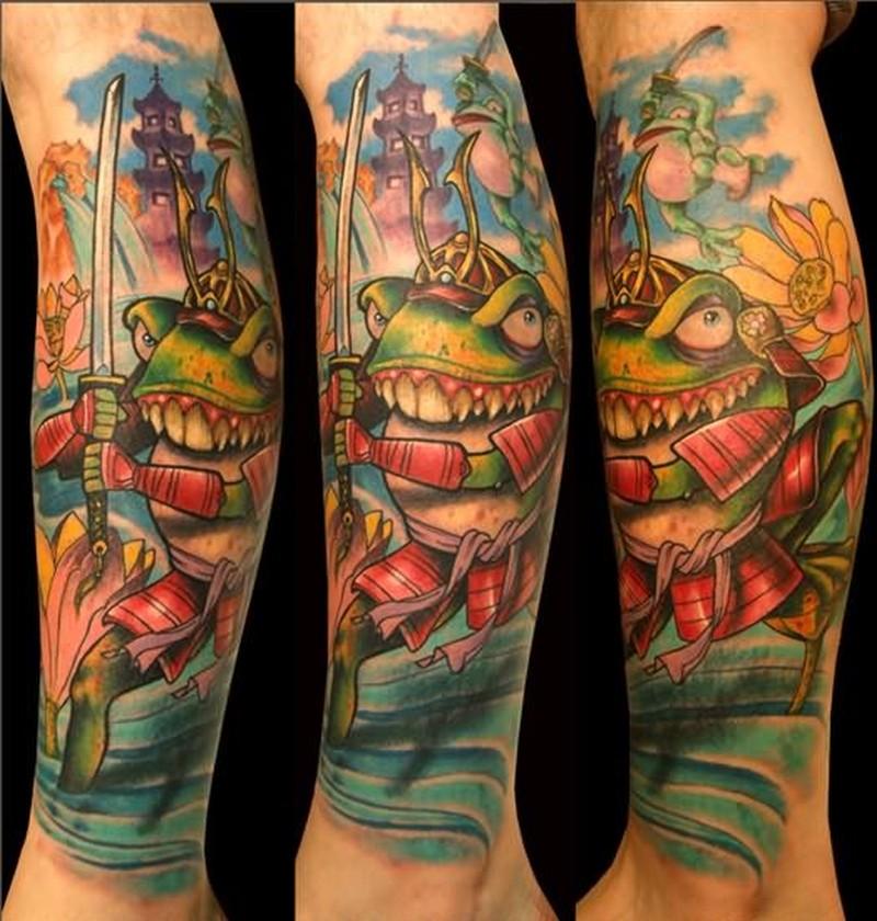Samurai frog on leg tattoo
