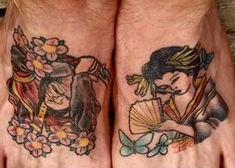 Samurai geisha tattoo on feet