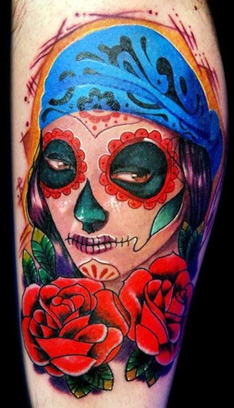 Santa muerte girl with a blue bandage on hair and red roses