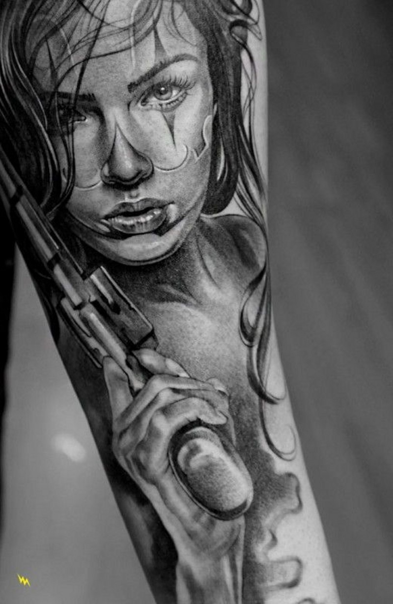 Santa muerte girl with a gun tattoo by Jun Cha - Tattoos