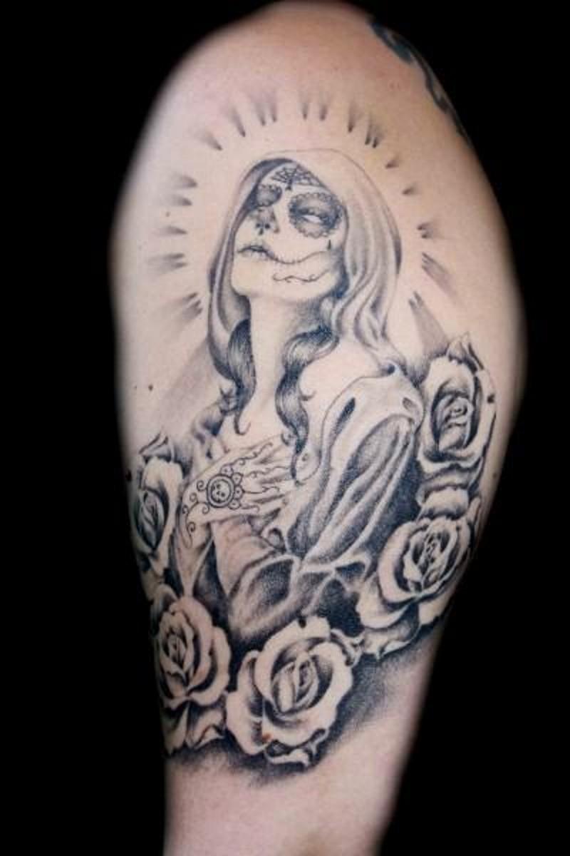 Santa muerte praying girl tattoo - Tattoos Book - 65 000