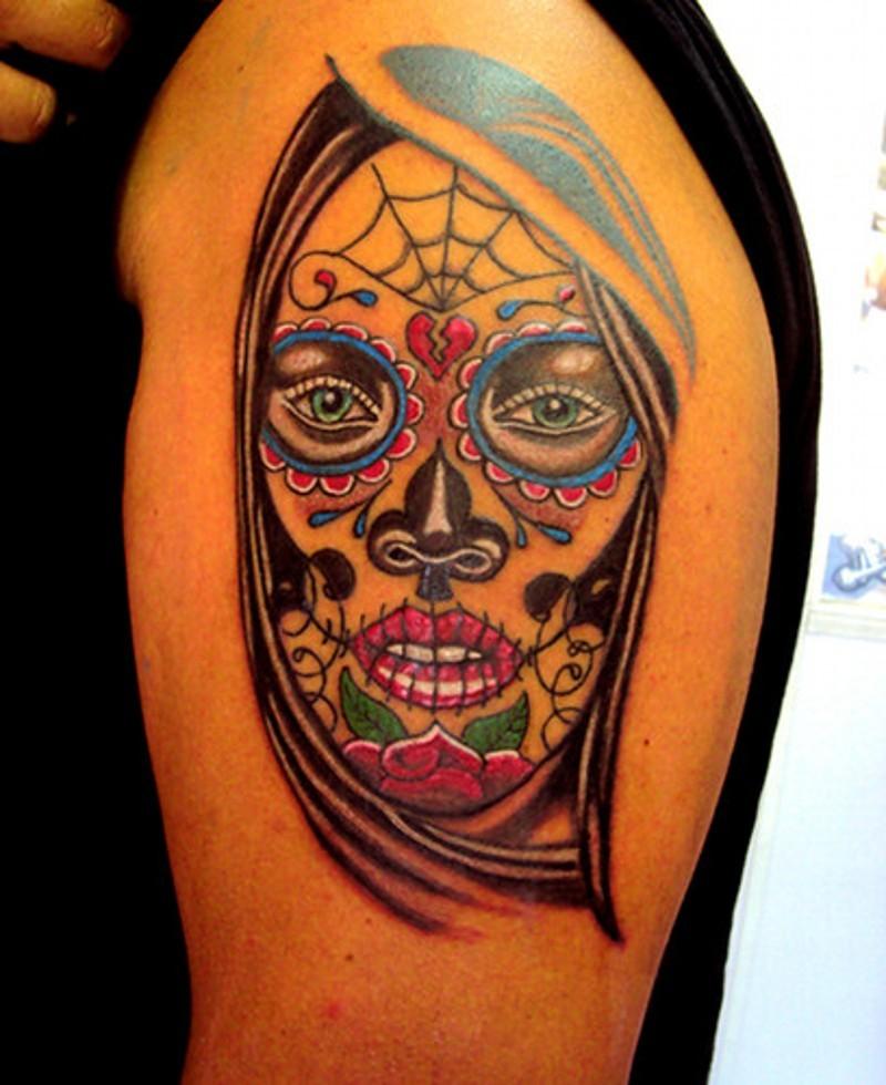 Santa muerte tattoo on shoulder for men - Tattoos Book