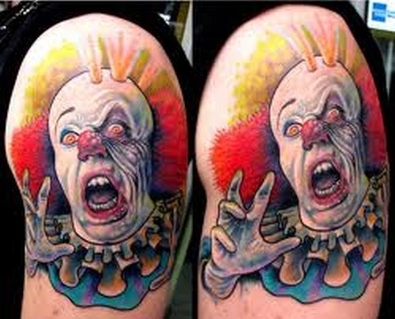 Scary clown image tattoo