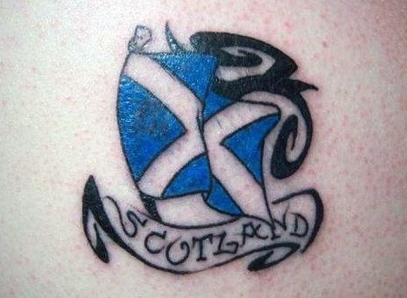 Scottish flag tattoo design