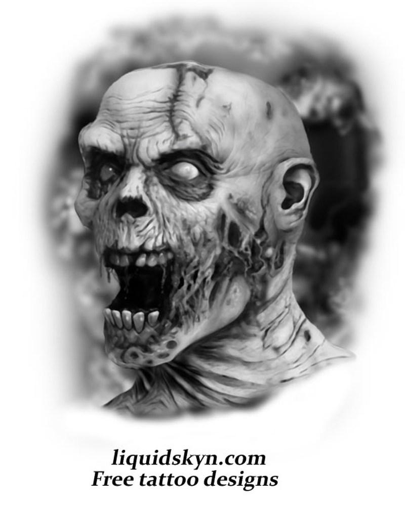 Screaming zombie face tattoo design