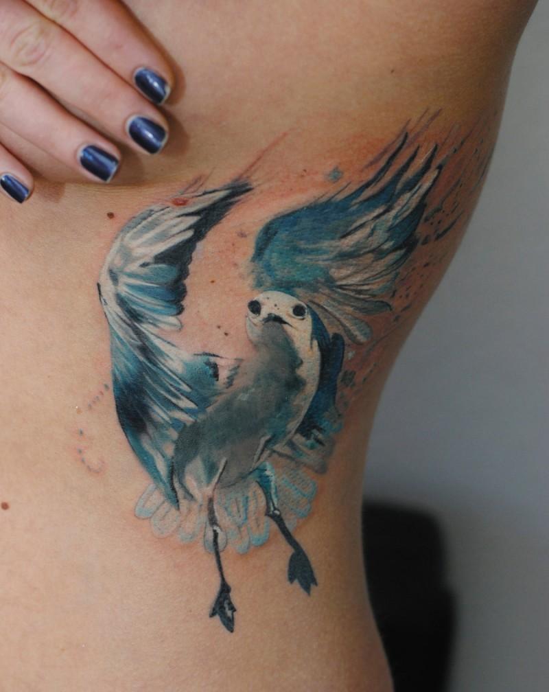 Seagull bird tattoo watercolor by dopeindulgence